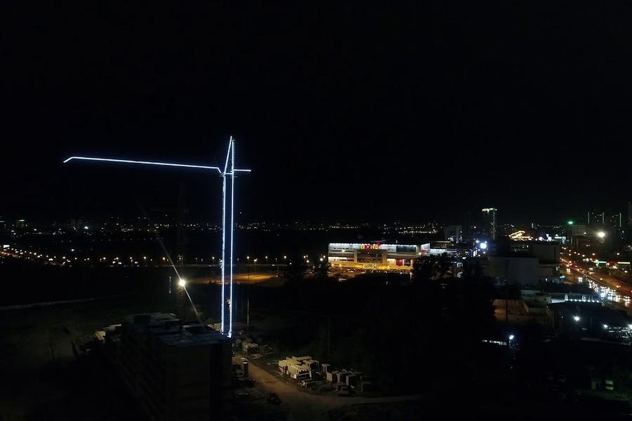 Подсветка башенных кранов в Харькове